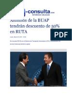 30-03-2015 E-Consulta,Com - Alumnos de La BUAP Tendrán Descuento de 50% en RUTA