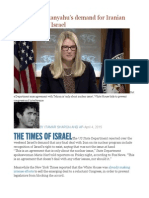 US Rejects Netanyahu's Demand for Iranian