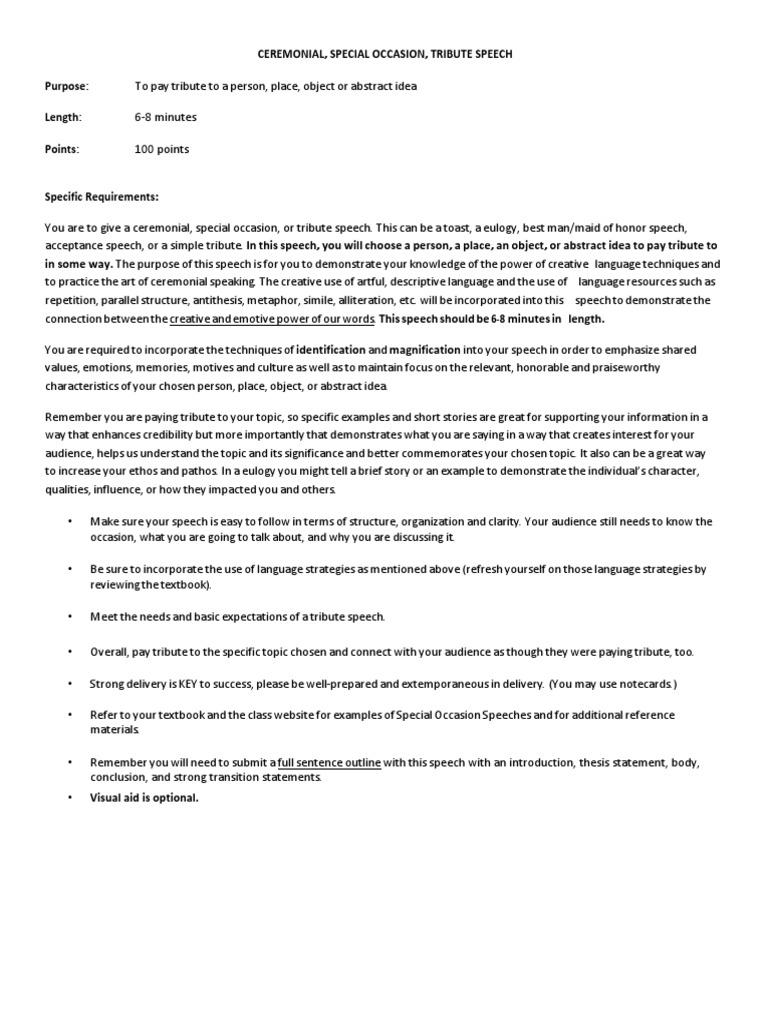 ceremonial speech assignment details | Public Speaking ...