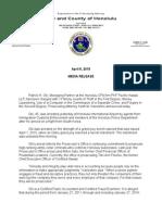 News release on arrest of Patrick Oki