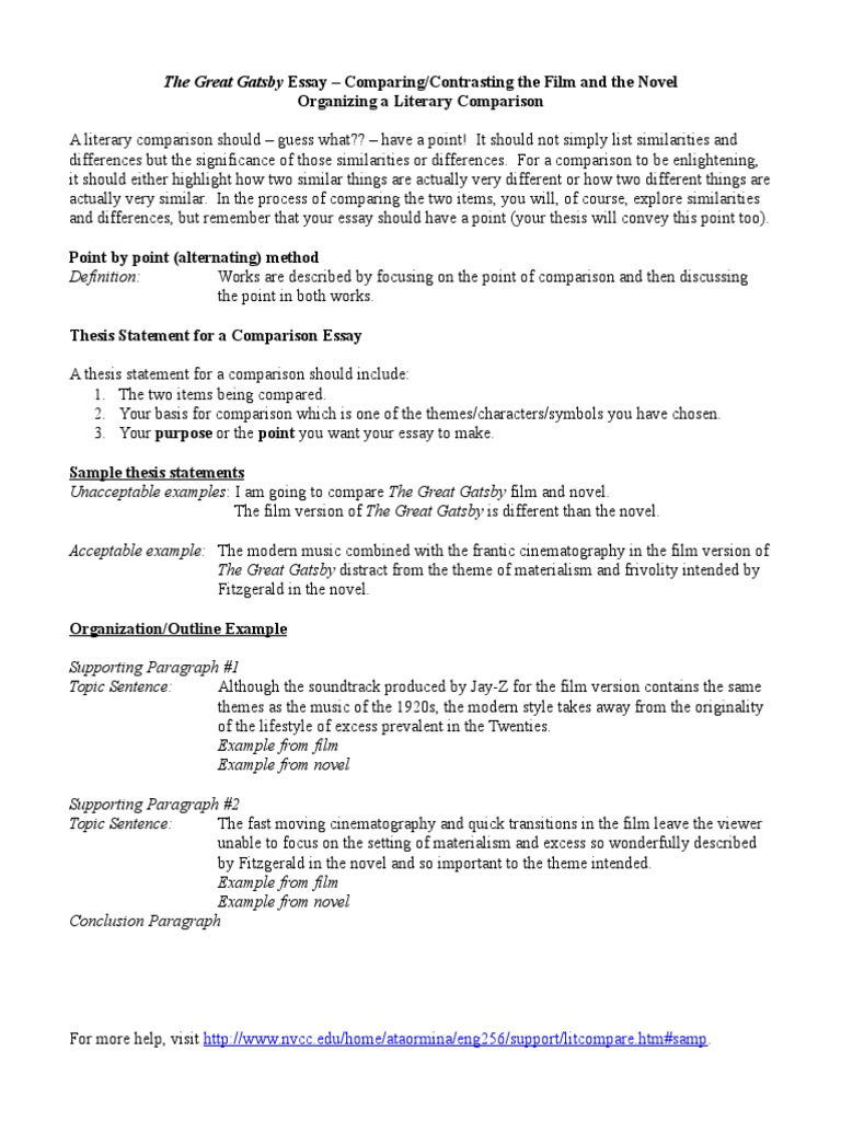 essay writing compare contrast thesis statements pdf pages with  gatsby comparison essay rubric the great gatsby essays high school  application essay sample also position paper