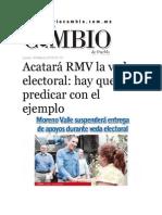 30-03-2015 Diario Matutino Cambio - Acatará RMV La Veda Electoral; Hay Que Predicar Con El Ejemplo