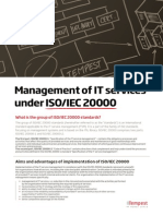 Management of IT Services Under ISO-IEC 20000