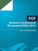 Sentencia Constitucional Plurinacional 0206-2014