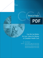 Value for Money in Canadian Health Care