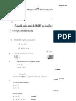 Simultaneous Equations Exam