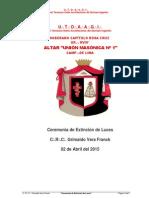Extinción de Luces - Cab.·.RC.·.Grimaldo Vera-Franck, 18°
