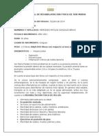Informe Mensual de Rehabiliatacion Fisica de Sor Maria Piedad