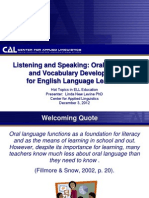 Listening and SpeakingOral Language and Vocabulary Development for English Language Learners