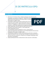Requisitos de Matricula Epg