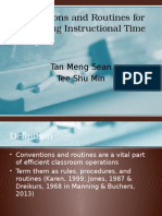 Conventions and Routines for Organising Instructional Time