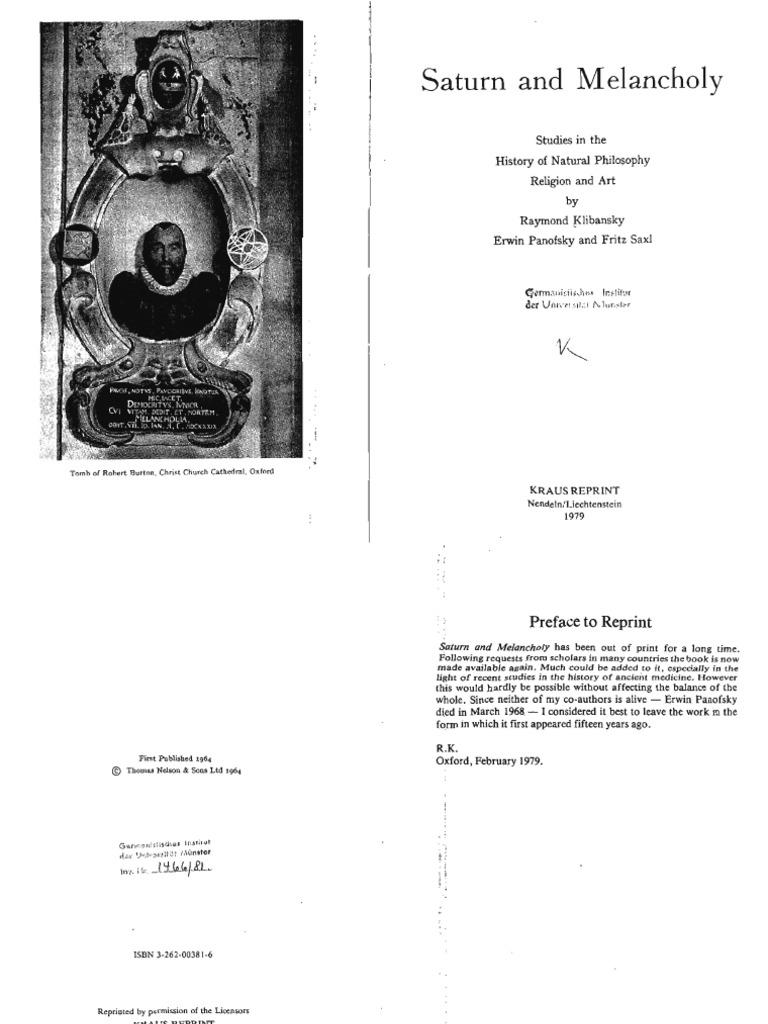Raymond Klibansky, Erwin Panofsky, Fritz Saxl - Saturn and