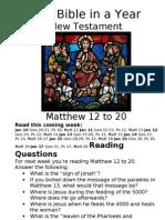 10 NT Matthew 12 to 20