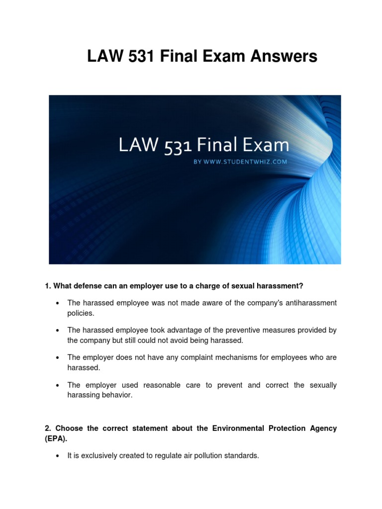 law exam answer help Midterm practice exam environmental law (course #5390) at the end of the exam, you must turn in the exam questions, your answer sheet, any scrap paper.