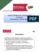 Resolución 1409 de 2012 Trabajo en Alturas