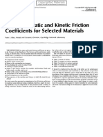 Static and kinetic friction coefficients