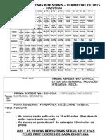 Calendário de Provas Bimestrais Matutino 1º Bimestre