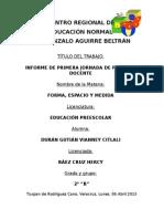 Informe de Primera Jornada de Práctica Docente