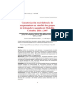 Caracterizacion Sociolaboral y de Aseguramiento en Salud de Dos Grupos de Trabajadores Cesantes de Medellin 2004 y 2007 Rev Sal Pub Bogota 2012