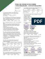 Breve Listinha de Exercicios Sobre Coeficiente de Solubilidade