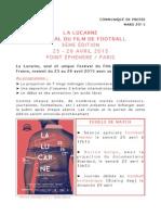Festival La Lucarne - Communiqué de presse 2015