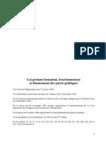 Loi Portant Formation Fonctionnement Et Financement Des Partis Politiques