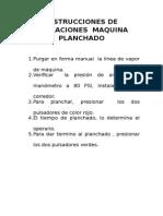 Instrucciones de Operaciones Maquina Planchado