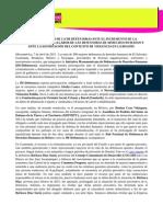 POSICIONAMIENTO DE LA IM-DEFENSORAS ANTE EL INCREMENTO DE LA CRIMINALIZACIÓN DE LA LABOR DE LAS DEFENSORAS DE DERECHOS HUMANOS Y ANTE LA AGUDIZACIÓN DEL CONTEXTO DE VIOLENCIA EN LA REGIÓN (07042015)