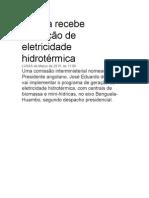 Angola Recebe Produção de Eletricidade Hidrotérmica