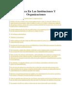 La Etica en Las Instituciones Y Organizaciones