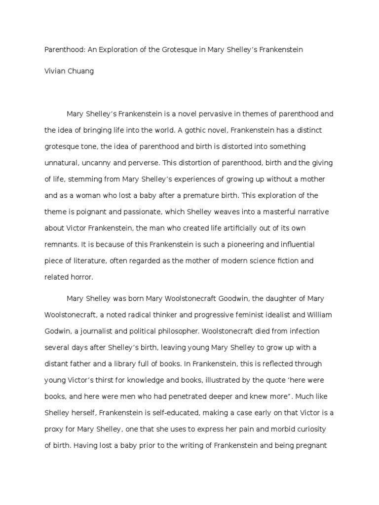 frankenstein and feminism essays Name : luthfi rahinal amanat std id : 1002740 class : 7b critical analysis of prose assignment 2 mary shelley's frankenstein: what is the function of woman mary shelley's frankenstein, the story of a scientist who attempts to bring life to a dead body, becomes one of the most iconic and famous.