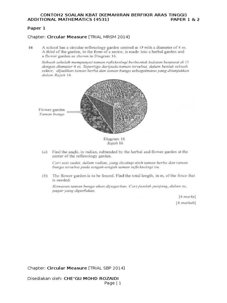 Contoh Soalan Kbat Add Math