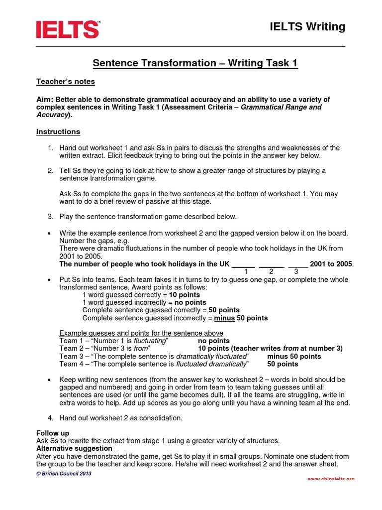 worksheet Sentence Transformation Worksheets writing task 1 sentence transformations linguistics verb