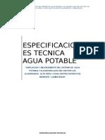 Especificaciones Tecnicad de Agua