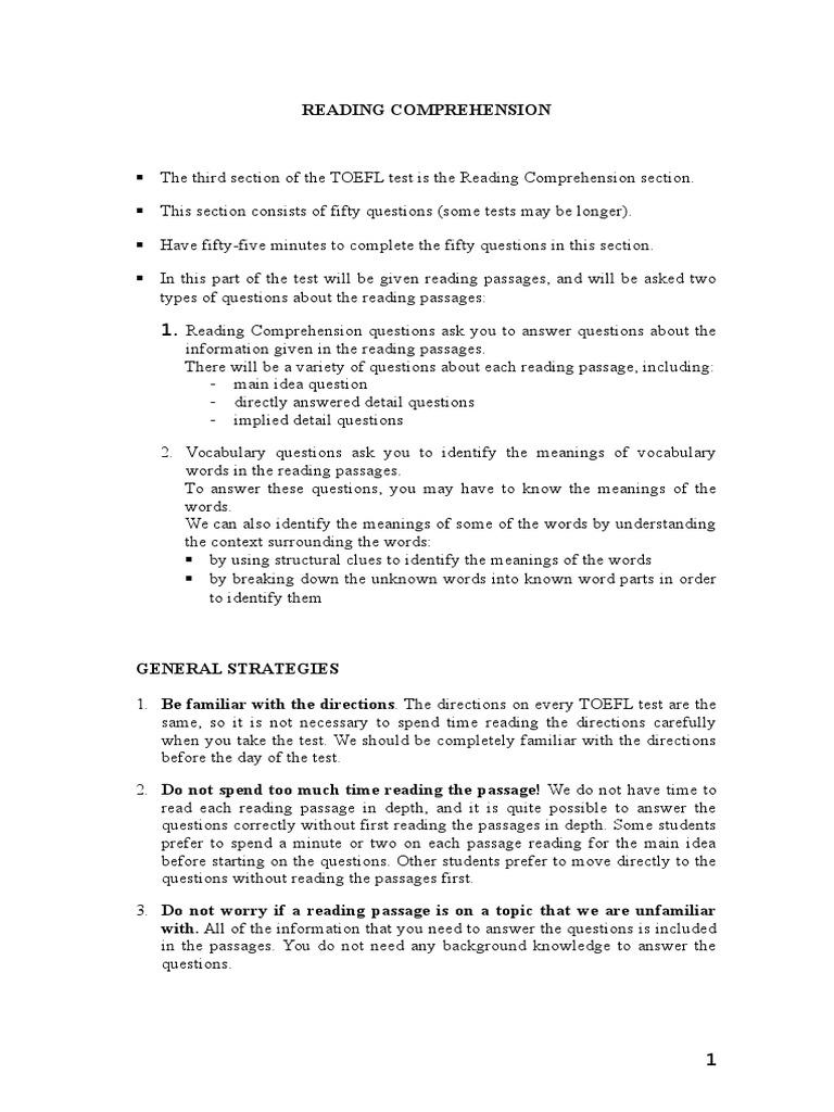 - TOEFL (Reading & Vocab) Reading Comprehension Question