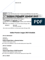 Indian Premier League 2015 Live Scores, Results and Fixtures - Cricbuzz