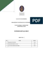 Powder Metallurgy Lab Report