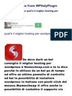 Wordpress Italiano Miglior Hosting wordpress