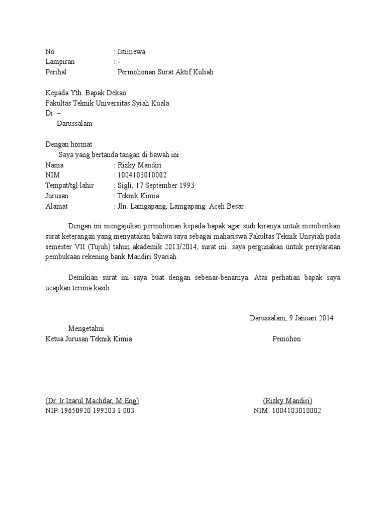 Surat Aktif Kuliah Contoh