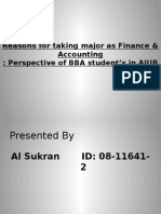 Reasons for Taking Major as Finance & Accounting