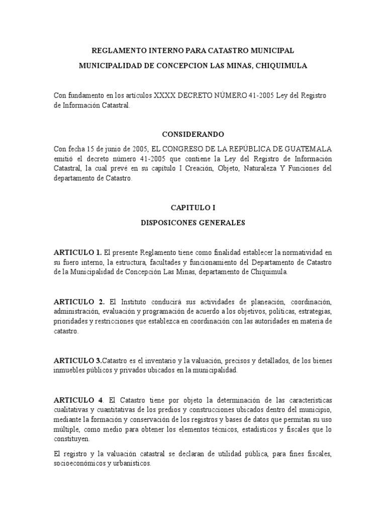 Reglamento Interno Para Catastro Municipal