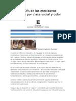 Más del 70% de los mexicanos discrimina por clase social y color de piel