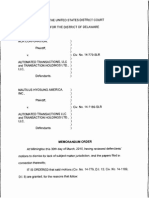 NRC Corp. v. Automated Transactions, LLC, Civ. No. 14-779-SLR; Nautilus Hyosung America, Inc. v. Automated Transactions, LLC, Civ. No. 14-1189-SLR (D. Del. Mar. 30, 2015).