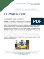 Communiqué de presse - La CAN 2017 sera gabonaise