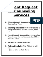 student requst for counseling services