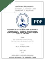 Memoria de Tesis de Hipermercado y Servicios Complementarios del Centro Comercial Sector oeste de la ciudad de Chiclayo