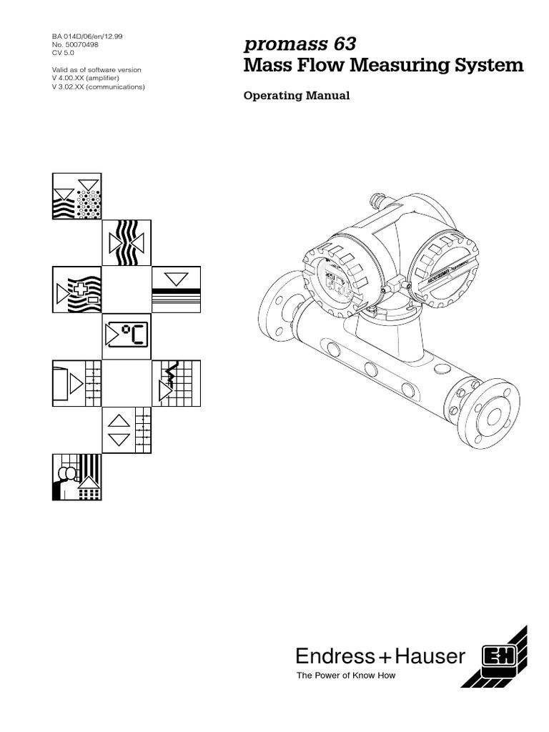 coriolis 63 power supply flow measurement rh scribd com promass 63 user manual promass 63 user manual