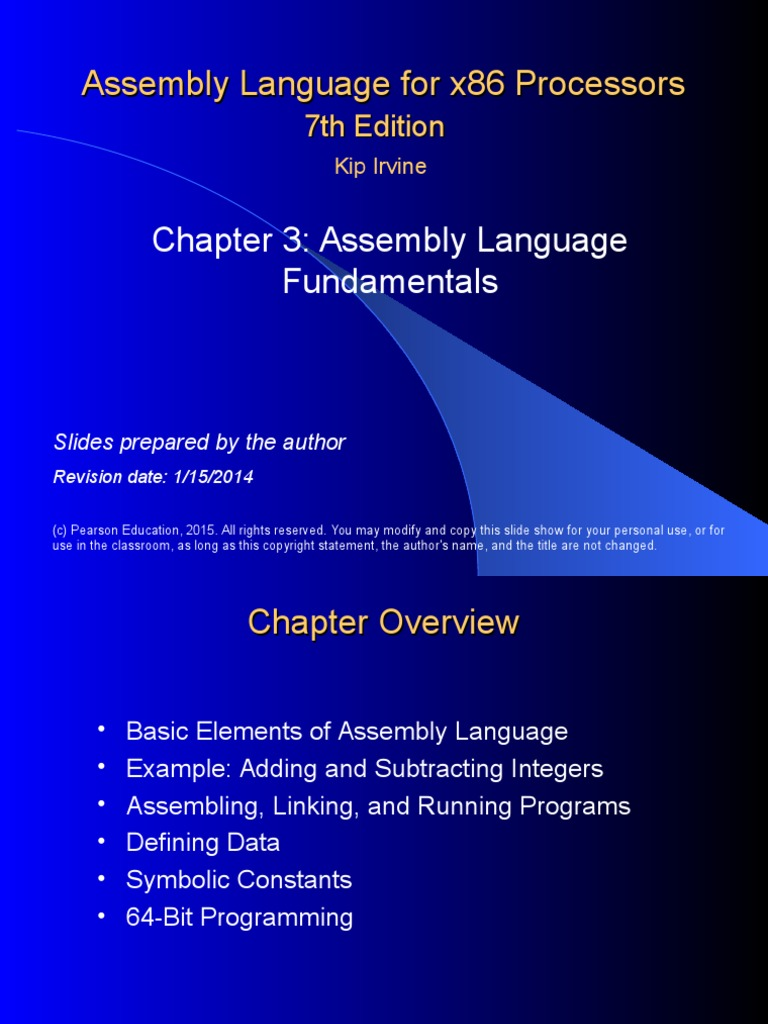Assembly Language For X86 Processors Example