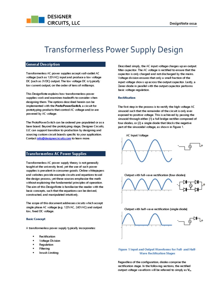 Designnote1a Rectifier Capacitor Electronic Circuit Projects High Current Transformerless Power Supply