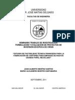 Análisis Técnico Financiero de Una Fabricadora de Cartón de Huevos